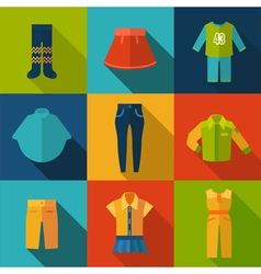 Set with clothes icons vector