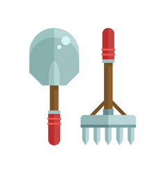shovel and rake icon vector image