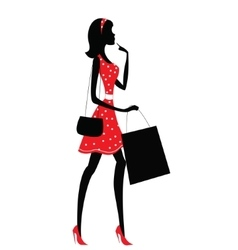 silhouette a woman shopping vector image