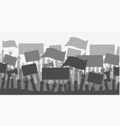 silhouette crowd people protesters vector image