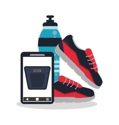 Smartphone and healthy lifestyle design vector