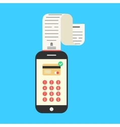 smartphone with cash-memo or paycheck on blue vector image