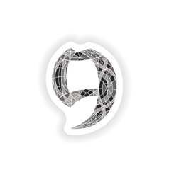 Sticker Low poly number 9 in gray mosaic polygon vector