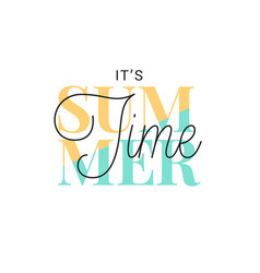 summer time banner vintage lettering on white vector image
