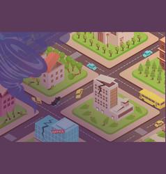 tornado in city composition vector image