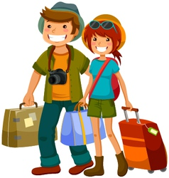 travelling couple vector image vector image