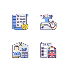 True false test rgb color icons set vector