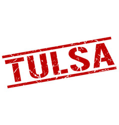 Tulsa red square stamp vector