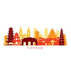 Vietnam architecture landmarks skyline shape vector
