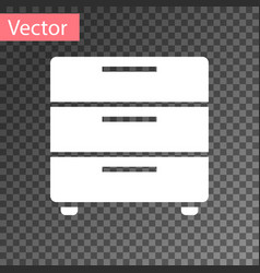 white furniture nightstand icon isolated on vector image