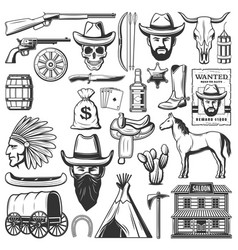 Wild west cowboy icons american western items vector