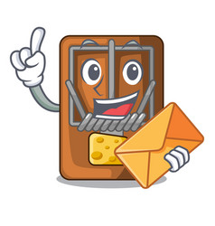 With envelope mousetrap in the shape mascot wood vector