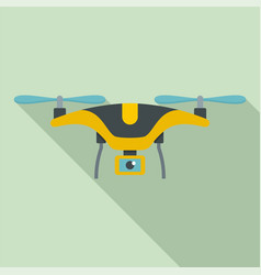 yellow drone icon flat style vector image