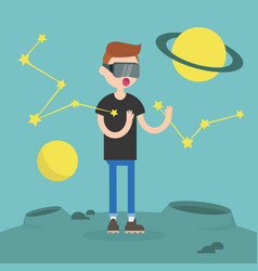 Young nerd wearing virtual reality glasses vector