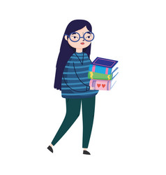 Young woman carrying stacked books book day vector