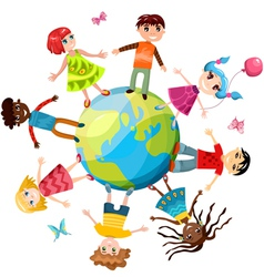 children ih the world vector image