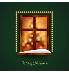 Decorated window with some snow on a green wall vector image