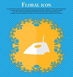 Iron Floral flat design on a blue abstract vector image