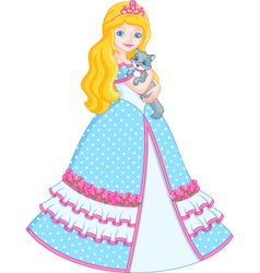 Princess with cat vector image vector image