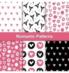romantic seamless pattern set vector image