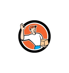 Delivery Man Okay Sign Parcel Circle Cartoon vector image vector image