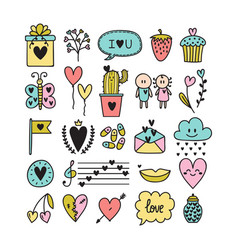 doodle design elements for love theme set of vector image