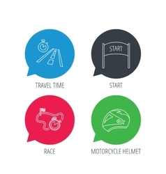 Motorcycle helmet race timer and travel time vector