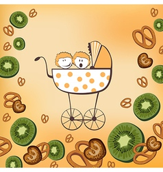 pram and kiwi fruits vector image vector image