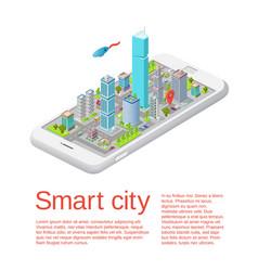 smart city isometric phone app template vector image