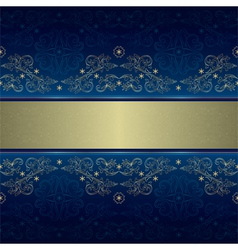 Template with gold floral seamless pattern on blue vector image