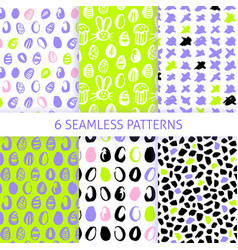 happy easter trendy seamless patterns vector image
