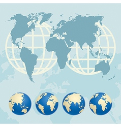 Map of the World and globes vector image vector image