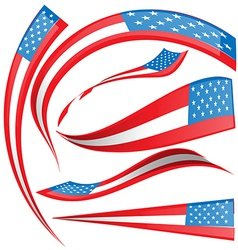 USA flag set isolated on white background vector image