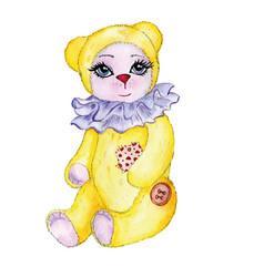 bear yellow painted watercolor vector image vector image
