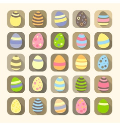 Easter eggs icons symbols vector