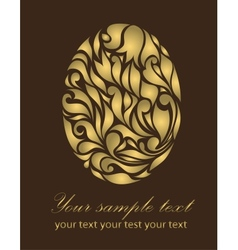 Floral gold Easter card vector image vector image