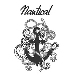 Hand drawn doodled of anchor ropes and swirls vector image