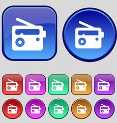 Retro Radio icon sign A set of twelve vintage vector image