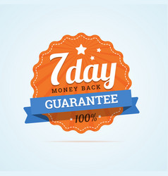 Seven day guarantee money back badge vector image