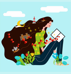 a girl read a book and his imagination and vector image