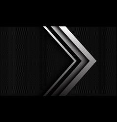 Abstract silver arrow metallic hexagon mesh vector