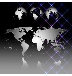 Abstract world map with shadow World globes vector image