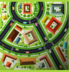 aerial top view flat design abstract green city vector image