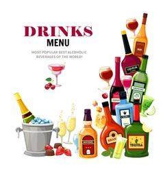 Alcoholic Beverages Drinks Menu Flat Poster vector image