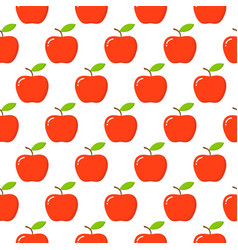 apples seamless pattern with red apples on white vector image