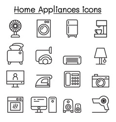 appliance icon set in thin line style vector image