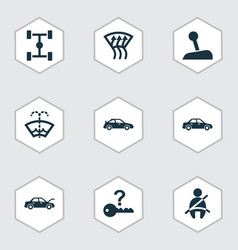 Automobile icons set with auto hood chassis not vector