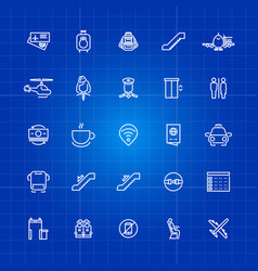 Aviation or airport outline icons set on blue vector