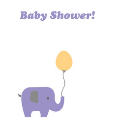 Baby shower card with elephant holding a balloon vector
