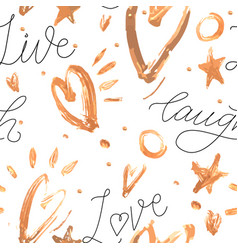 background with golden hearts and strokes vector image